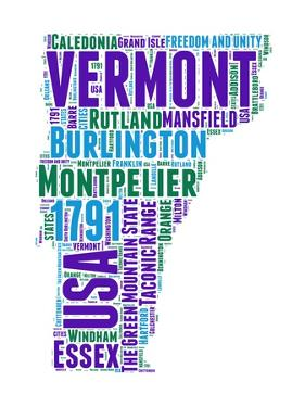 Vermont Word Cloud Map by NaxArt