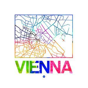 Vienna Watercolor Street Map by NaxArt