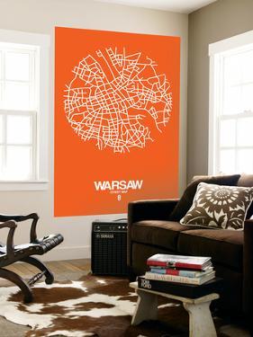 Warsaw Street Map Orange by NaxArt