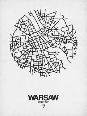 Warsaw Street Map White by NaxArt