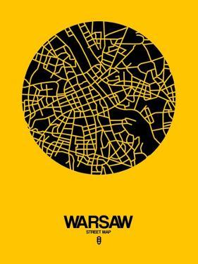 Warsaw Street Map Yellow by NaxArt