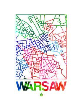 Warsaw Watercolor Street Map by NaxArt