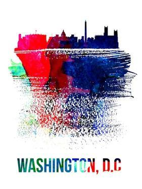 Washington, D.C. Skyline Brush Stroke - Watercolor by NaxArt