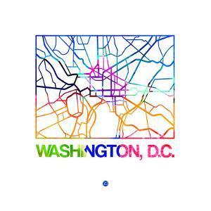 Washington D.C. Watercolor Street Map by NaxArt