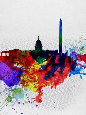 Washington DC Watercolor Skyline 1 by NaxArt