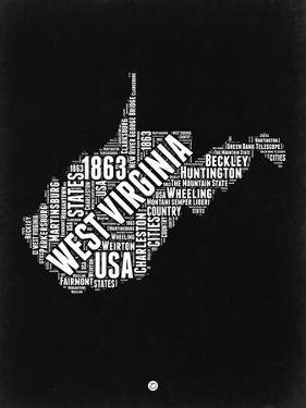 West Virginia Black and White Map by NaxArt