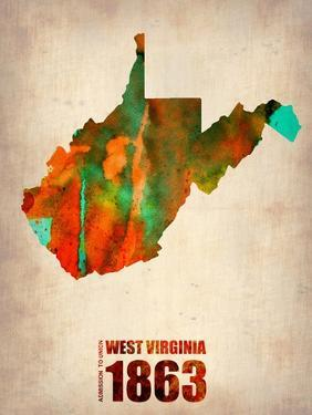West Virginia Watercolor Map by NaxArt
