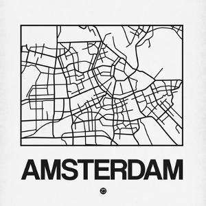 White Map of Amsterdam by NaxArt