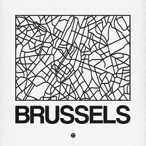 White Map of Brussels by NaxArt