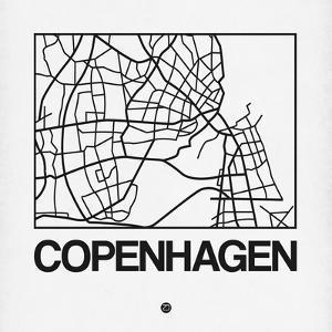 White Map of Copenhagen by NaxArt