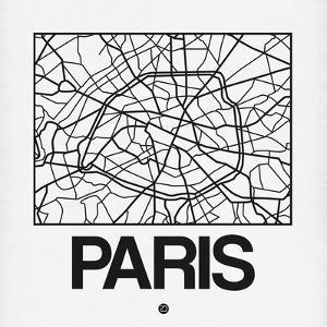 White Map of Paris by NaxArt