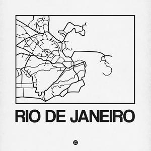 White Map of Rio De Janeiro by NaxArt