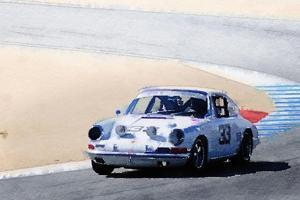 White Porsche 911 in Monterey Watercolor by NaxArt