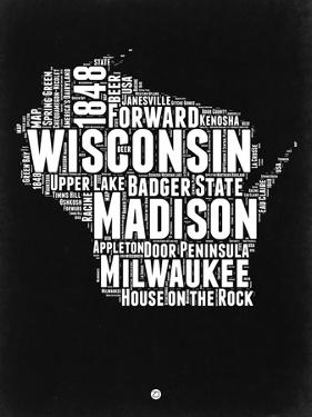 Wisconsin Black and White Map by NaxArt