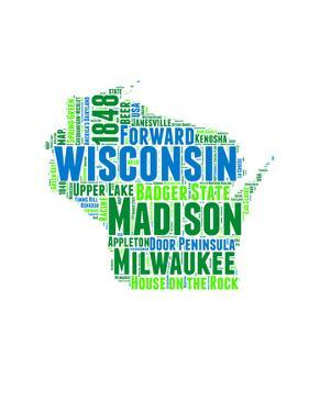 Wisconsin Word Cloud Map by NaxArt