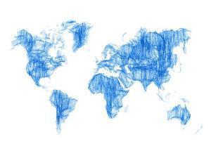 World Map Blue Drawing by NaxArt
