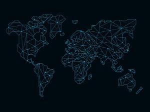 World Map Blue Wire by NaxArt