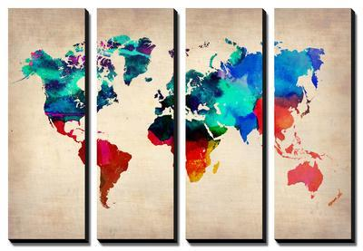 World Map in Watercolor 1 by NaxArt