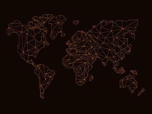 World Map Orange 3 by NaxArt
