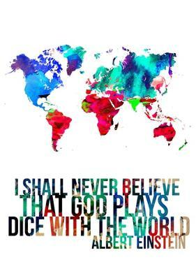 World Map Quote Albert Einstein by NaxArt