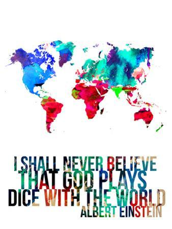 World Map Quote Albert Einstein by NaxArt