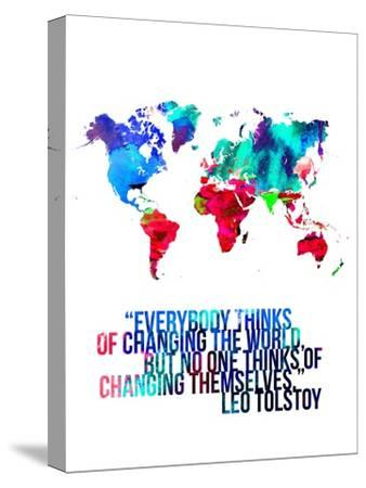 World Map Quote Leo Tolstoy by NaxArt