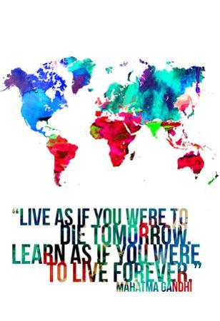 World Map Quote Mahatma Gandi by NaxArt