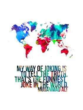 World Map Quote Muhammad Ali by NaxArt