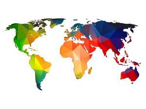 World maps art prints for sale at allposters world polygon map 1 by naxart gumiabroncs Gallery