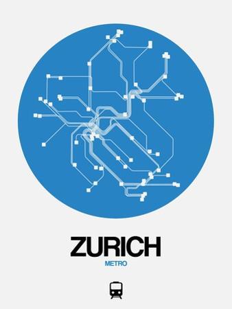 Zurich Blue Subway Map by NaxArt