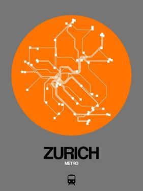 Zurich Orange Subway Map by NaxArt