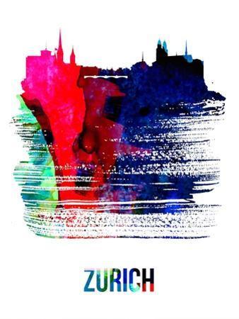Zurich Skyline Brush Stroke - Watercolor by NaxArt