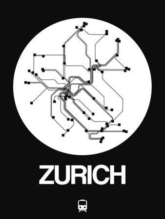 Zurich White Subway Map by NaxArt