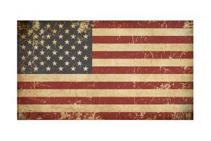 Usa Aged Flat Flag by nazlisart