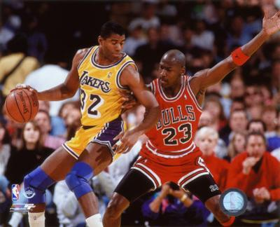 NBA Michael Jordan & Magic Johnson 1990 Action