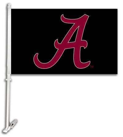 NCAA Alabama Crimson Tide Car Flag with Wall Bracket