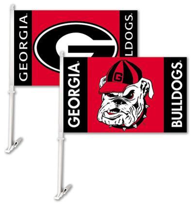 NCAA Georgia Bulldogs Car Flag with Wall Bracket