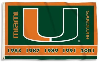 NCAA Miami Hurricanes Flag with Grommets