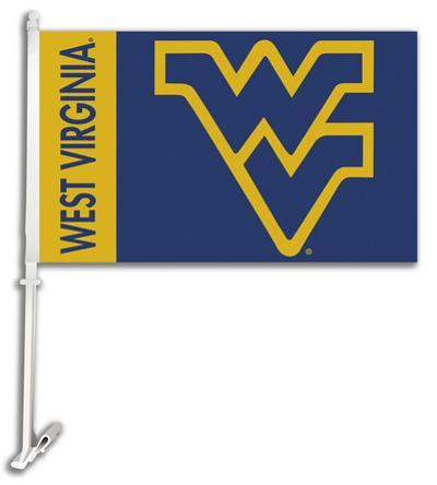 NCAA West Virginia Mountaineers Car Flag with Wall Bracket