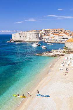 Banje beach, Old Port and Dubrovnik Old Town, Dubrovnik, Dalmatian Coast, Croatia, Europe by Neale Clark