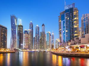 Dubai Marina Skyline at Night, Dubai City, United Arab Emirates, Middle East by Neale Clark