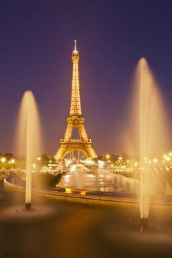Eiffel Tower and the Trocadero Fountains at Night, Paris, France, Europe by Neale Clark