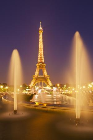Eiffel Tower and the Trocadero Fountains at Night, Paris, France, Europe