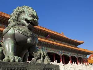 Male Bronze Lion, Gate of Supreme Harmony, Outer Court, Forbidden City, Beijing, China, Asia by Neale Clark