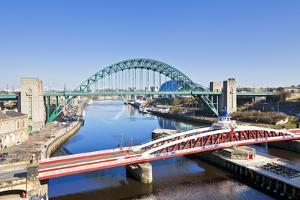 Newcastle Upon Tyne City with Tyne Bridge and Swing Bridge over River Tyne by Neale Clark