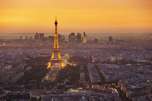 Paris Skyline at Sunset with the Eiffel Tower and La Defense, Paris, France, Europe by Neale Clark