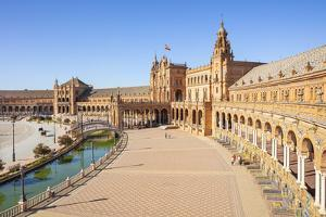 Plaza de Espana with canal and bridge, Maria Luisa Park, Seville, Spain by Neale Clark