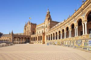 Seville Plaza de Espana with ceramic tiled alcoves and arches, Maria Luisa Park, Seville, Spain by Neale Clark