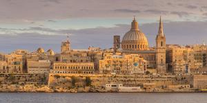 Valletta Skyline Panorama at Sunset with the Carmelite Church Dome and St. Pauls Anglican Cathedral by Neale Clark