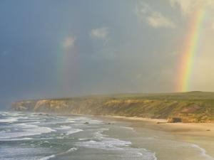 Double Rainbow after Storm at Carrapateira Bordeira Beach, Algarve, Portugal, Europe by Neale Clarke